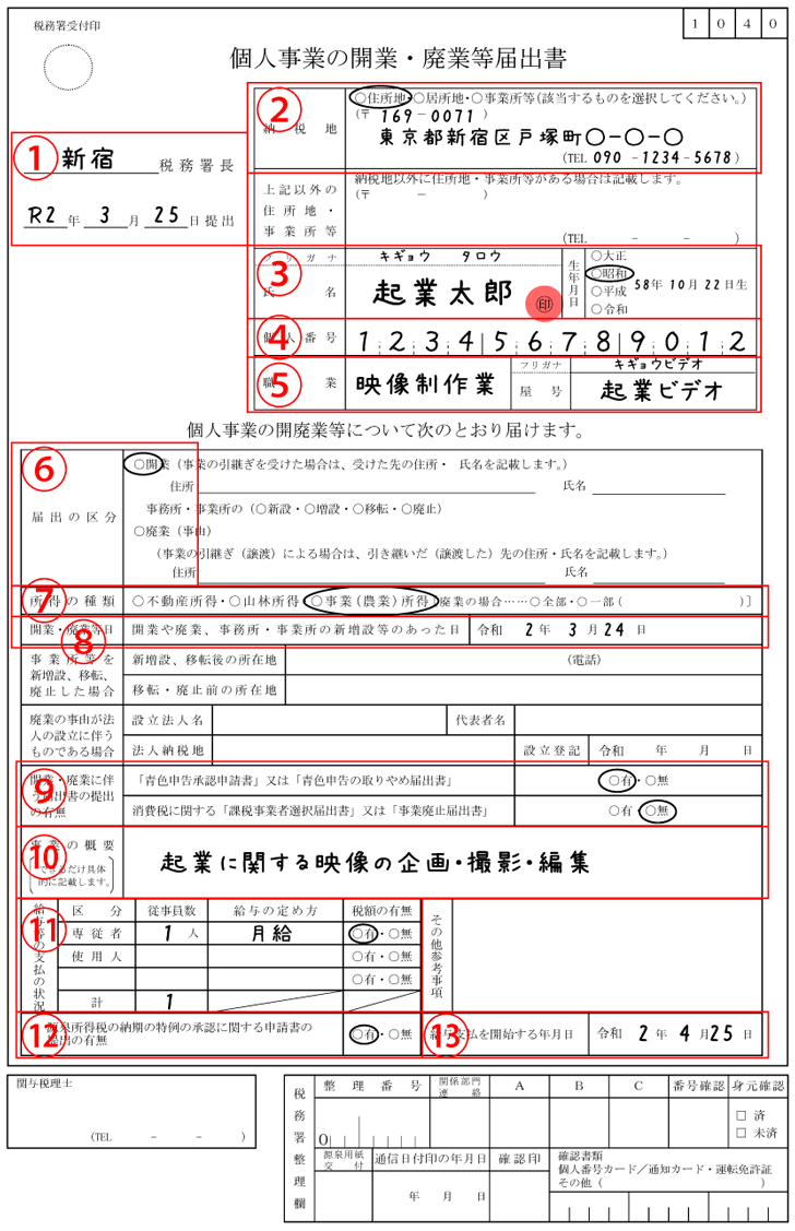 開業届の記入例(令和版)