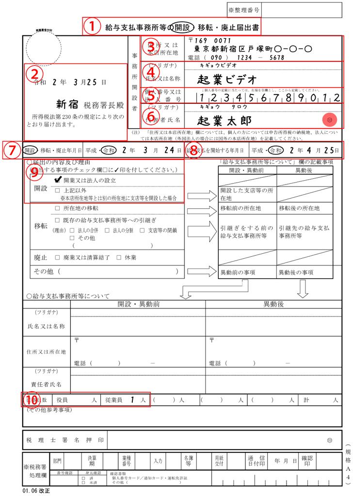 給与支払事務所等の開設届出書の記入例