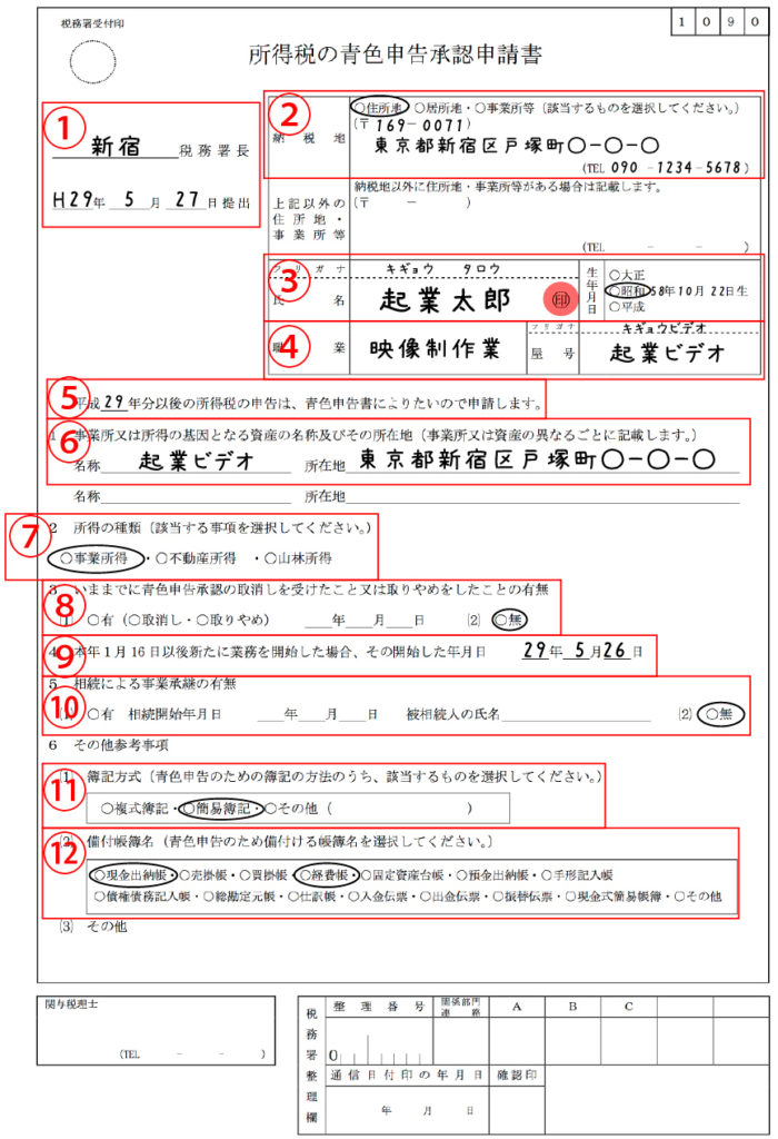 所得税の青色申告承認申請書の記入例