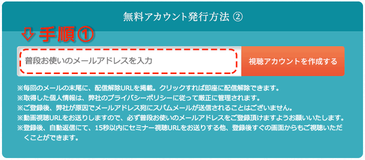 メールアドレスの登録手順①