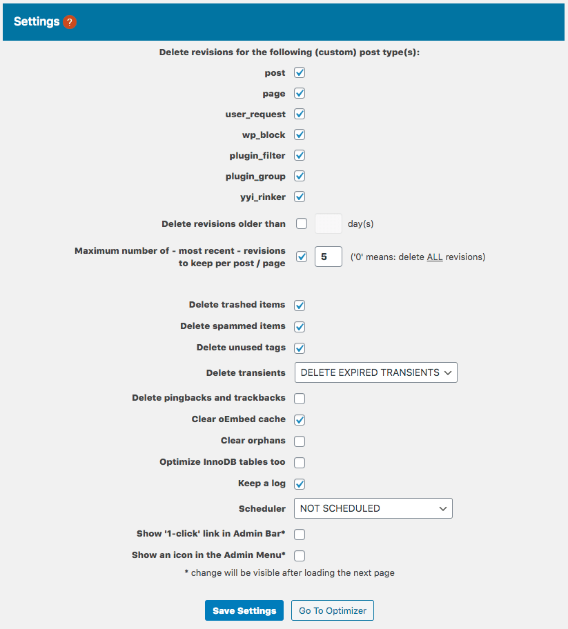 Optimize Databaseの設定方法1