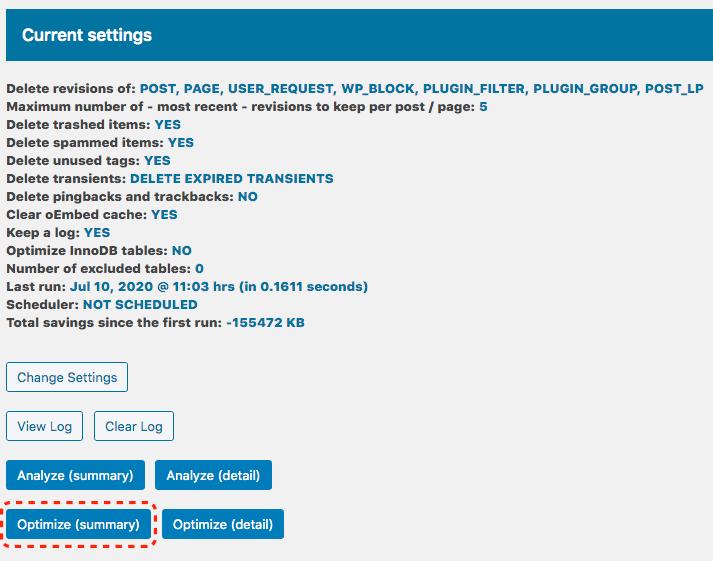 Optimize Databaseの設定方法2